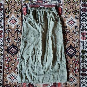Flax olive linen skirt